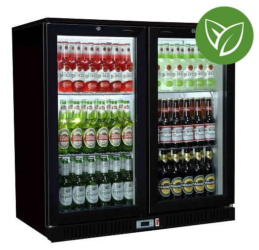Sterling Pro Green SP2HC-BH Black Hinged Double Door Bottle Cooler 192 Ltrs / 180 Bottles