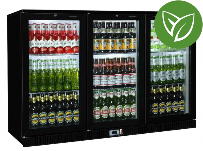 Sterling Pro Green SP3HC-BH Black Triple Door Hinged Bottle Cooler 300 Ltrs / 274 Bottles